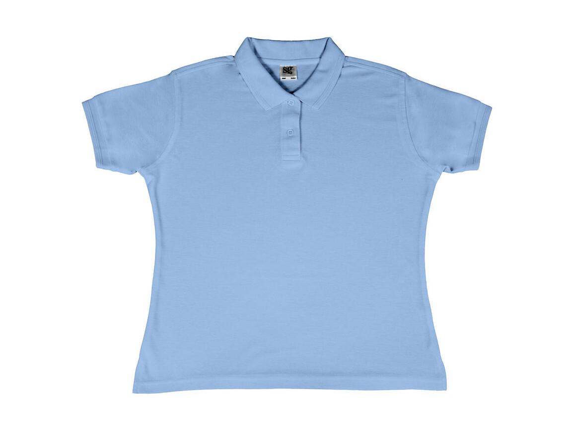 SG Ladies` Poly Cotton Polo, Sky, M bedrucken, Art.-Nr. 593523204