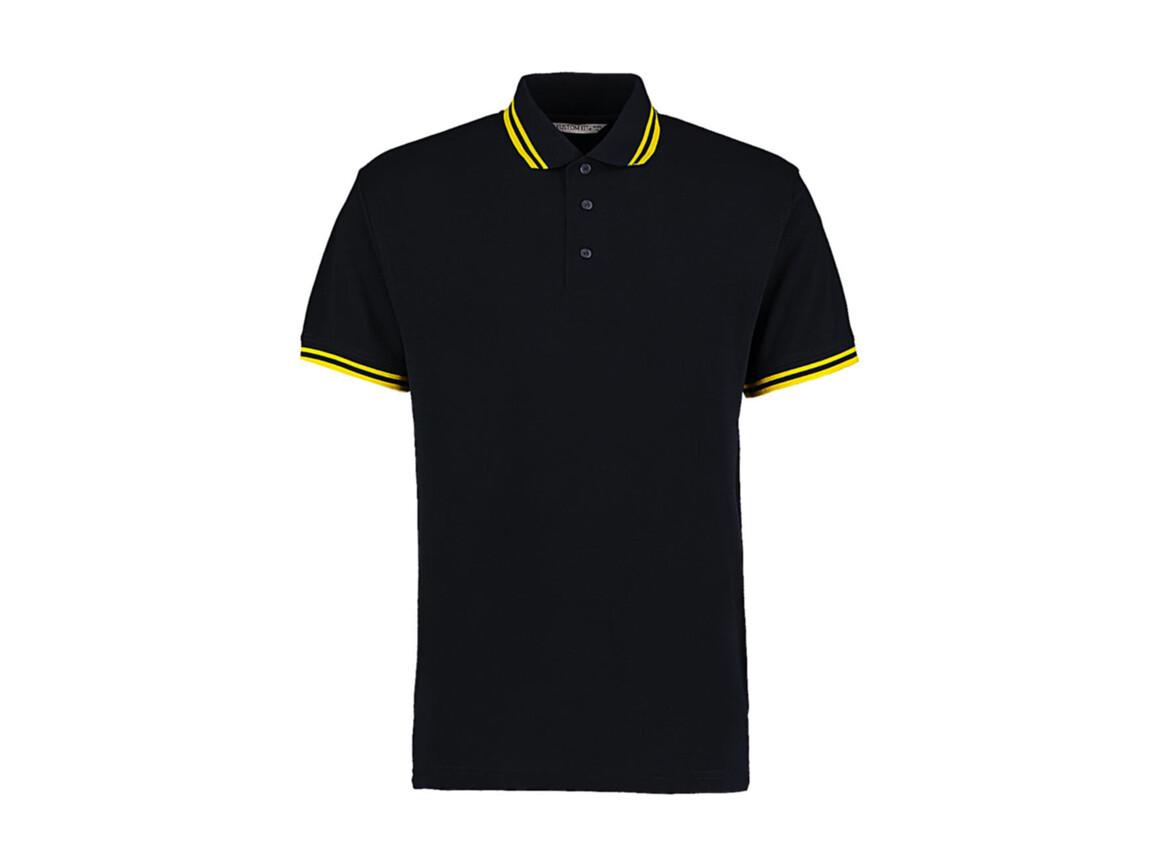 Kustom Kit Classic Fit Tipped Collar Polo, Navy/Sun Yellow, S bedrucken, Art.-Nr. 594112463