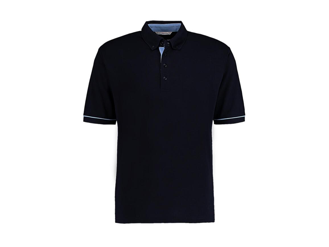 Kustom Kit Classic Fit Button Down Contrast Polo Shirt, Navy/Light Blue, XL bedrucken, Art.-Nr. 596112416