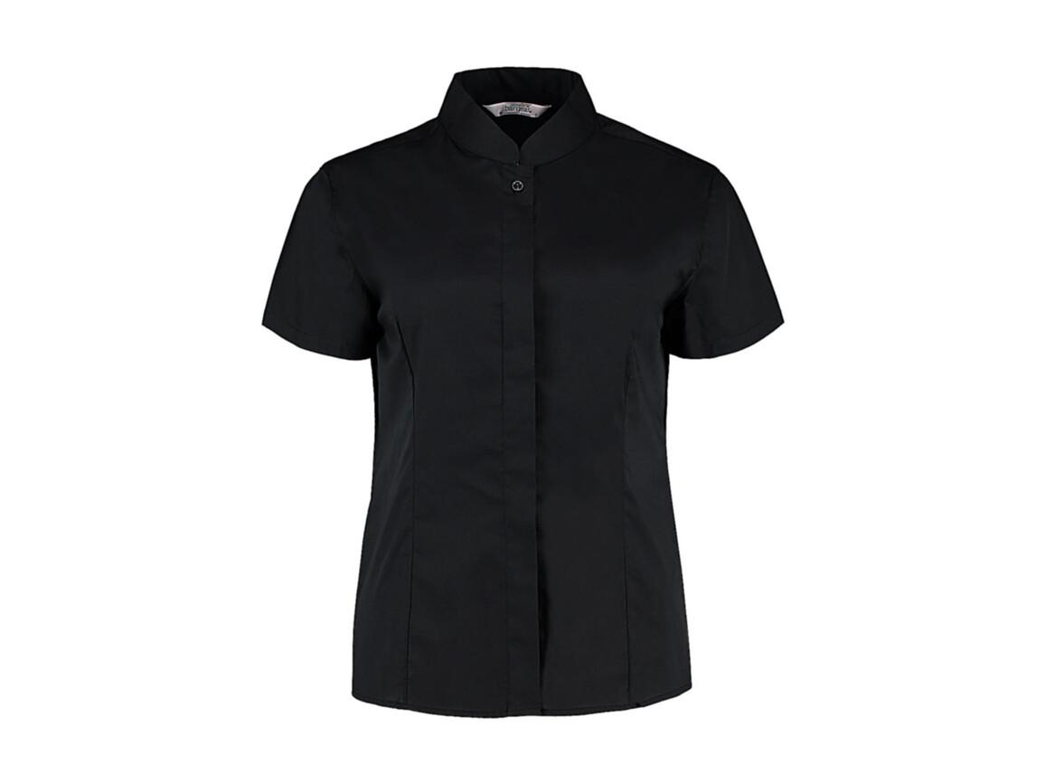 Kustom Kit Women`s Tailored Fit Mandarin Collar SSL, Black, XS bedrucken, Art.-Nr. 749111011
