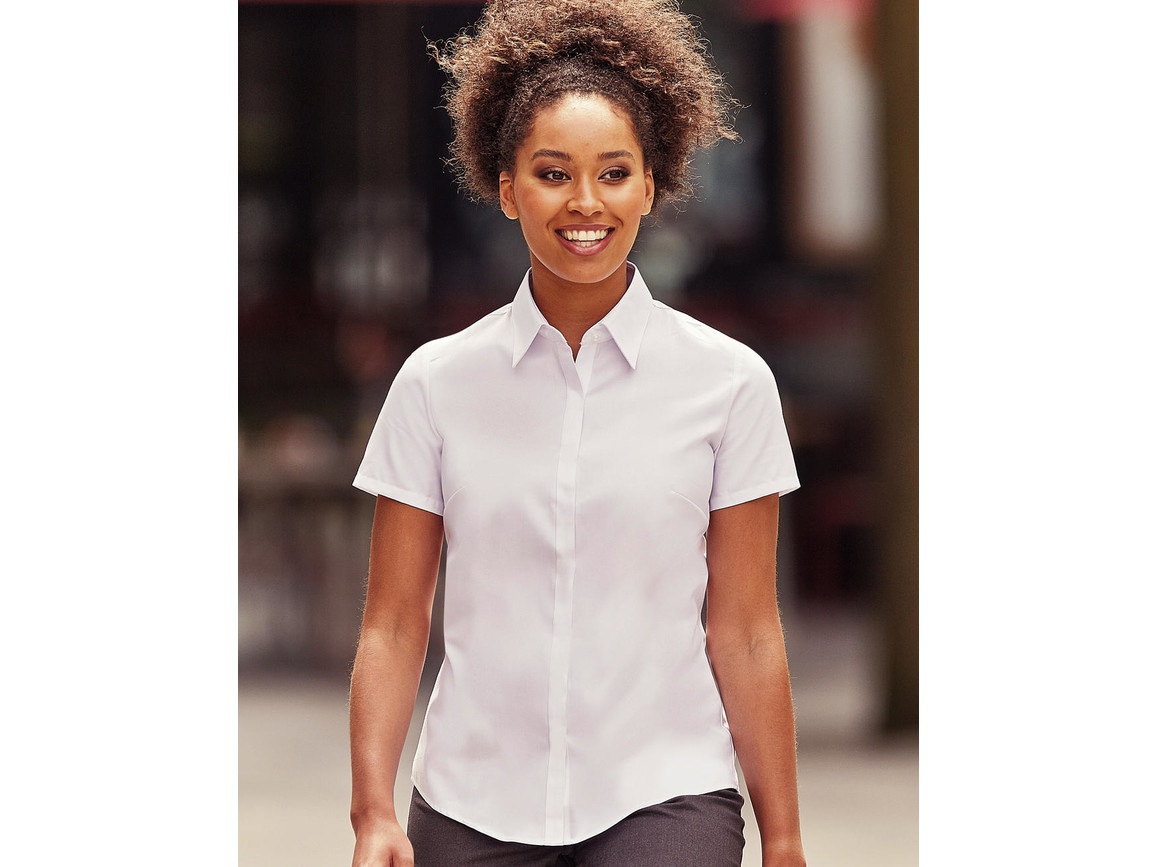Russell Europe Ladies` Ultimate Stretch Shirt, Bright Sky, L (40) bedrucken, Art.-Nr. 761003105