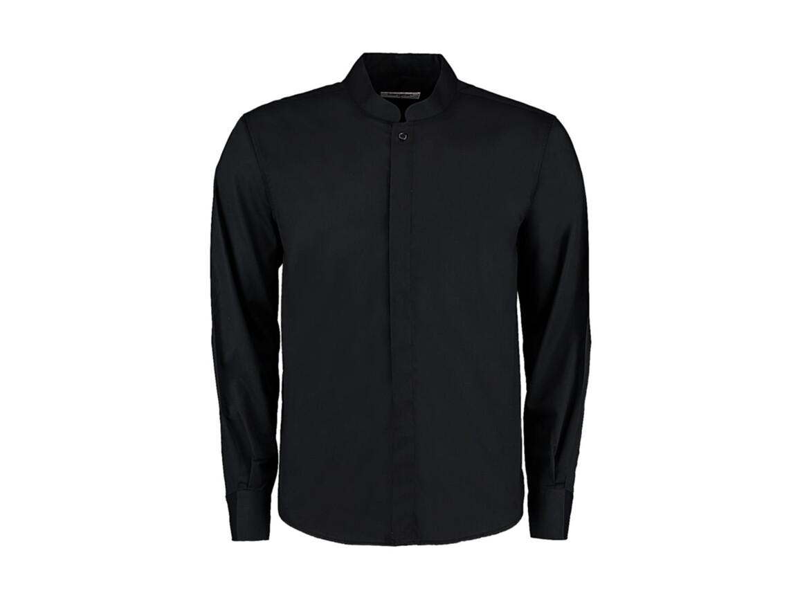 Kustom Kit Tailored Fit Mandarin Collar Shirt, Black, L bedrucken, Art.-Nr. 764111015