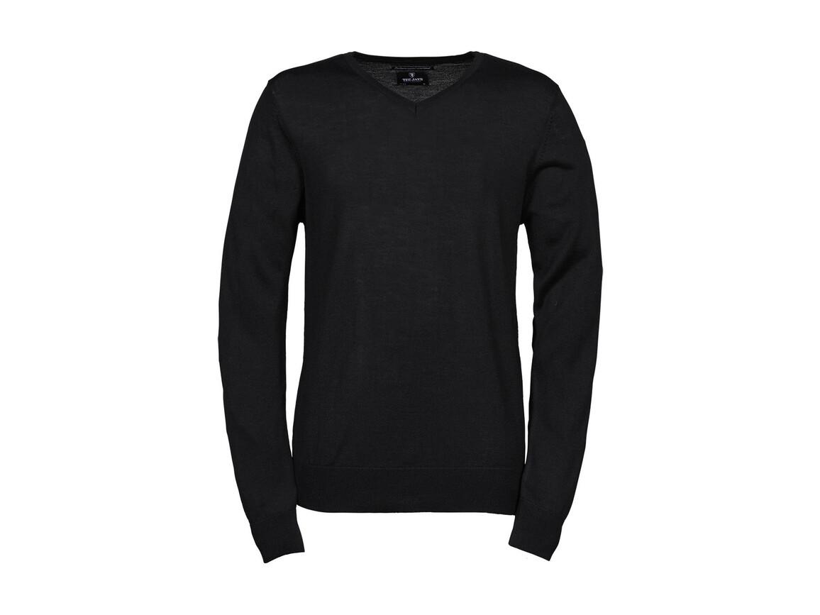 Tee Jays Men`s V-Neck Sweater, Black, 3XL bedrucken, Art.-Nr. 764541018