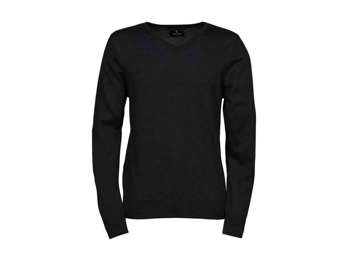 Tee Jays Men`s V-Neck Sweater, Dark Grey, L bedrucken, Art.-Nr. 764541285