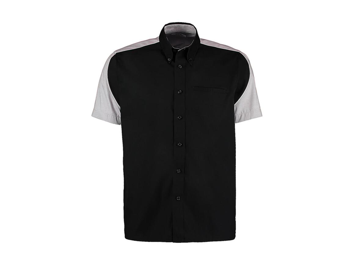 Kustom Kit Classic Fit Sebring Shirt SSL, Black/Silver/White, L bedrucken, Art.-Nr. 768111905