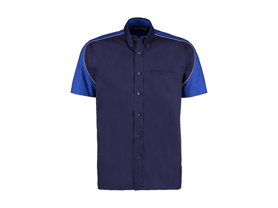 Kustom Kit Classic Fit Sebring Shirt SSL, Navy/Royal/White, L bedrucken, Art.-Nr. 768112985
