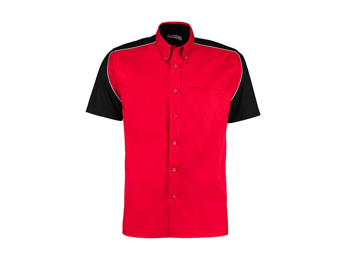 Kustom Kit Classic Fit Sebring Shirt SSL, Red/Black/White, XL bedrucken, Art.-Nr. 768114816