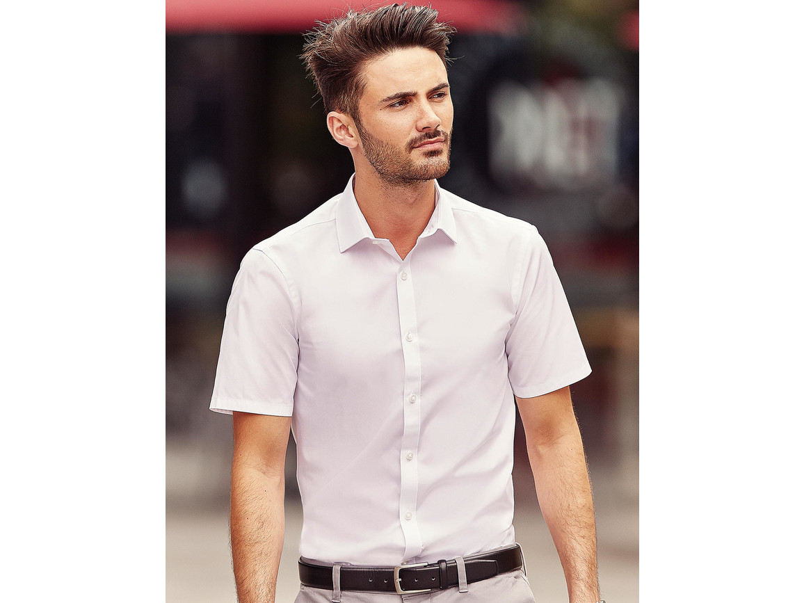 Russell Europe Men`s Ultimate Stretch Shirt, Bright Sky, L bedrucken, Art.-Nr. 781003105