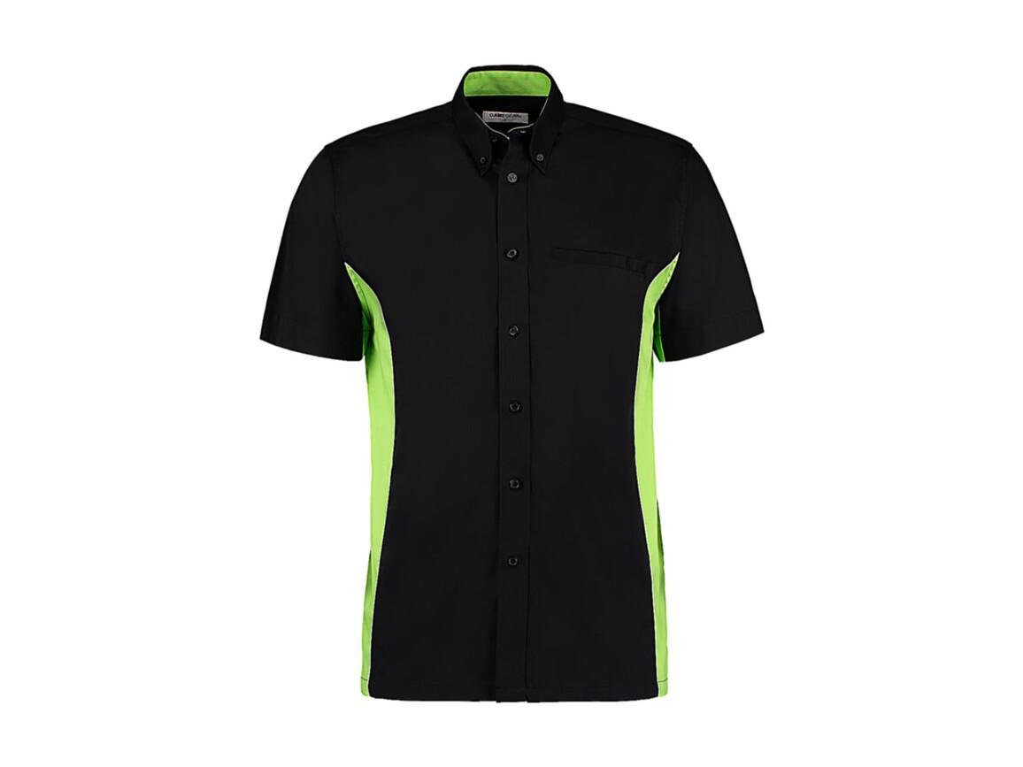 Kustom Kit Classic Fit Sportsman Shirt SSL, Black/Lime/White, 3XL bedrucken, Art.-Nr. 785111718