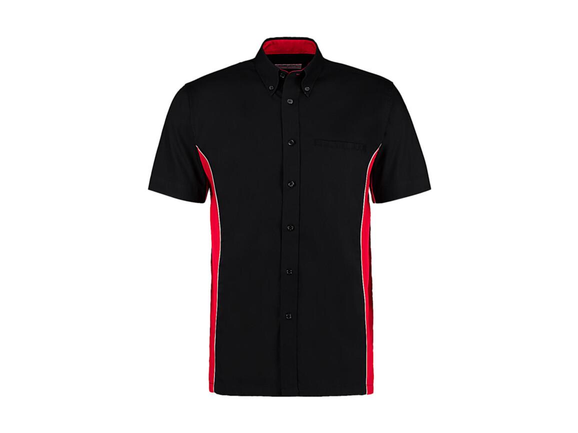 Kustom Kit Classic Fit Sportsman Shirt SSL, Black/Red/White, XL bedrucken, Art.-Nr. 785111856