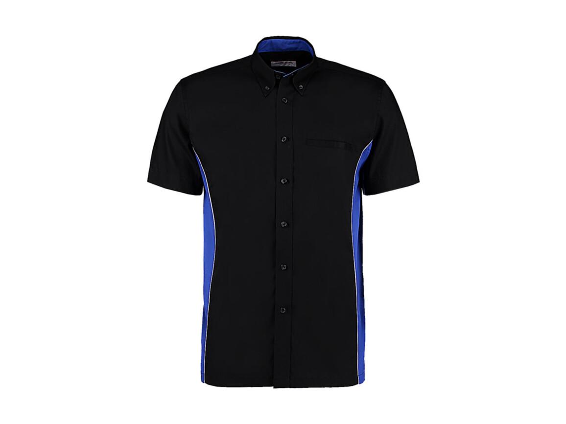 Kustom Kit Classic Fit Sportsman Shirt SSL, Black/Royal/White, XL bedrucken, Art.-Nr. 785111886