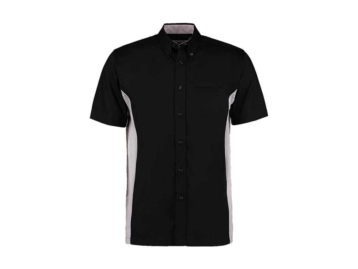 Kustom Kit Classic Fit Sportsman Shirt SSL, Black/Silver/White, 3XL bedrucken, Art.-Nr. 785111908