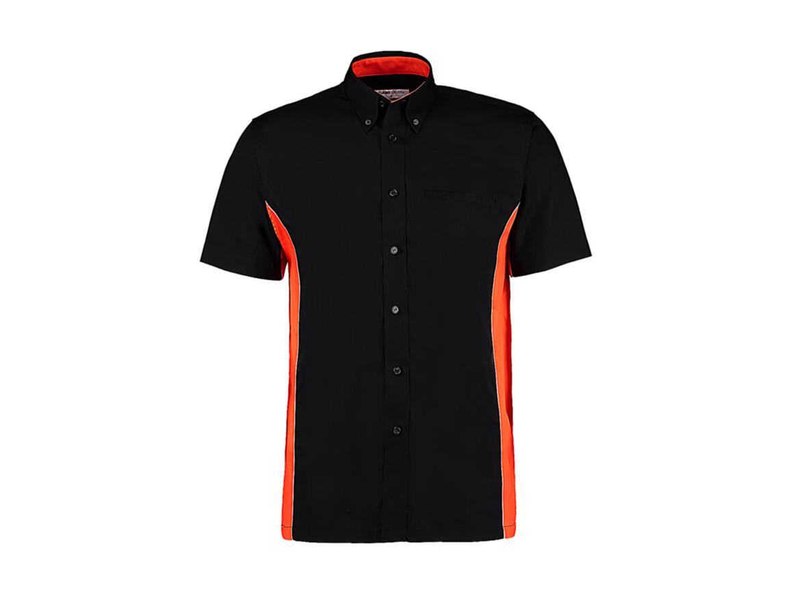 Kustom Kit Classic Fit Sportsman Shirt SSL, Black/Orange/White, S bedrucken, Art.-Nr. 785111973