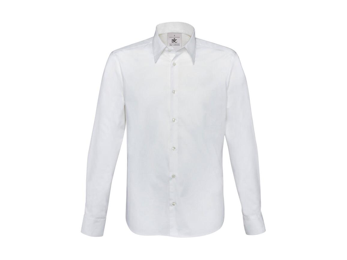 B & C London Stretch Shirt LS, White, M bedrucken, Art.-Nr. 786420004