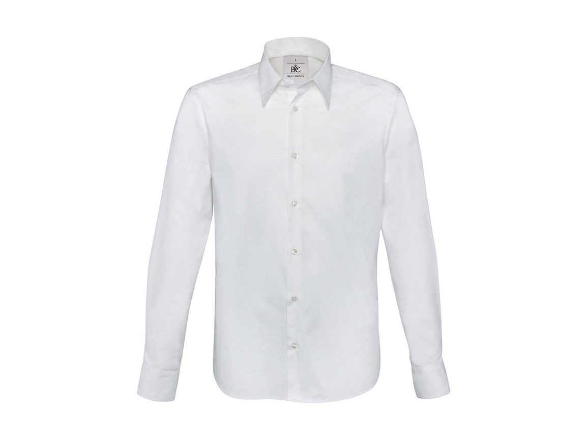 B & C London Stretch Shirt LS, White, S bedrucken, Art.-Nr. 786420003