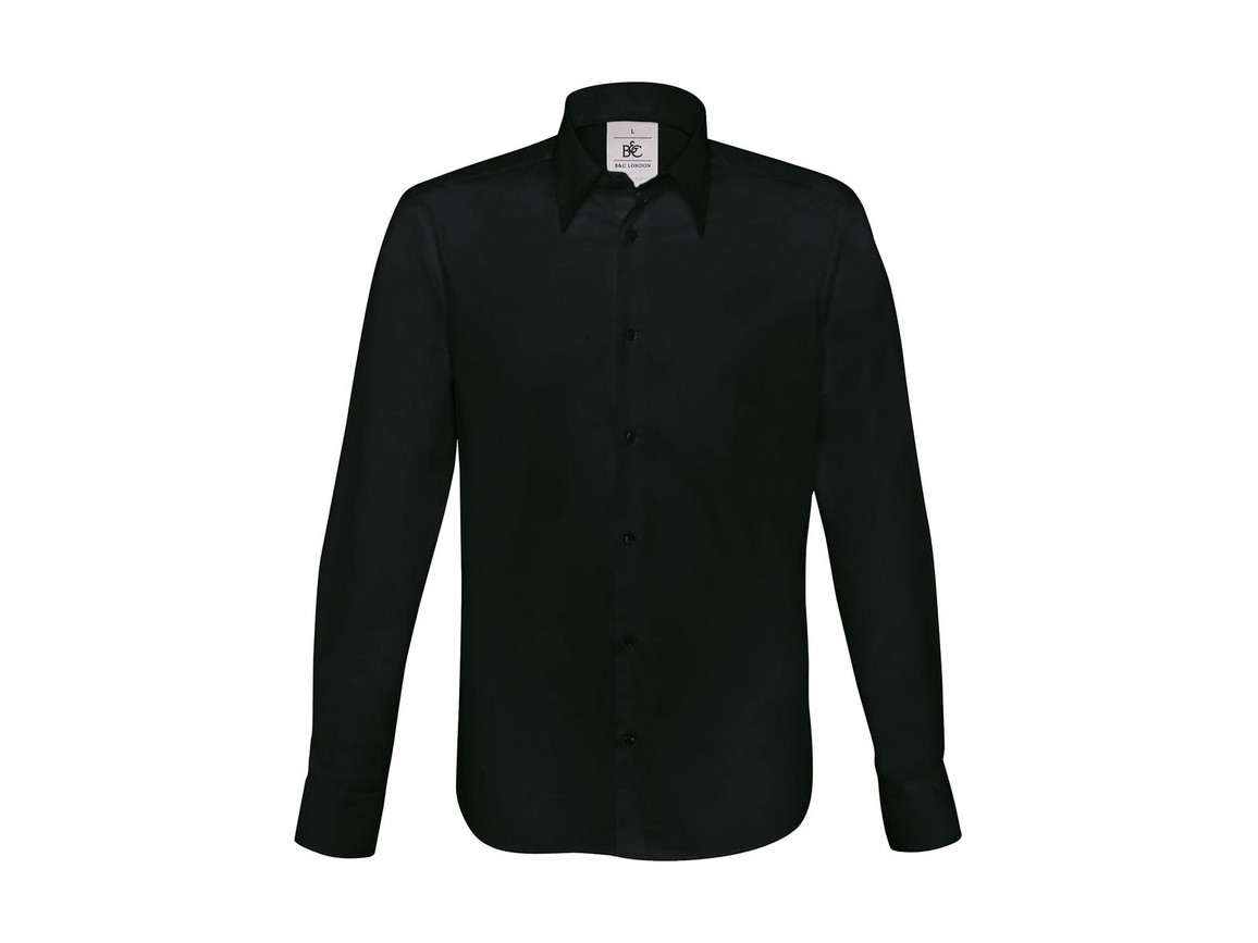B & C London Stretch Shirt LS, Black, M bedrucken, Art.-Nr. 786421014
