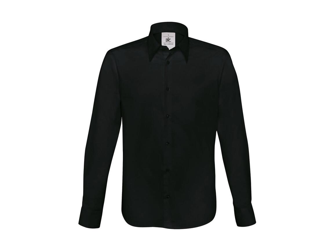B & C London Stretch Shirt LS, Black, S bedrucken, Art.-Nr. 786421013