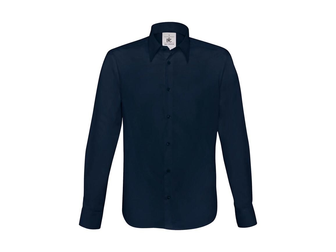 B & C London Stretch Shirt LS, Navy, 2XL bedrucken, Art.-Nr. 786422007