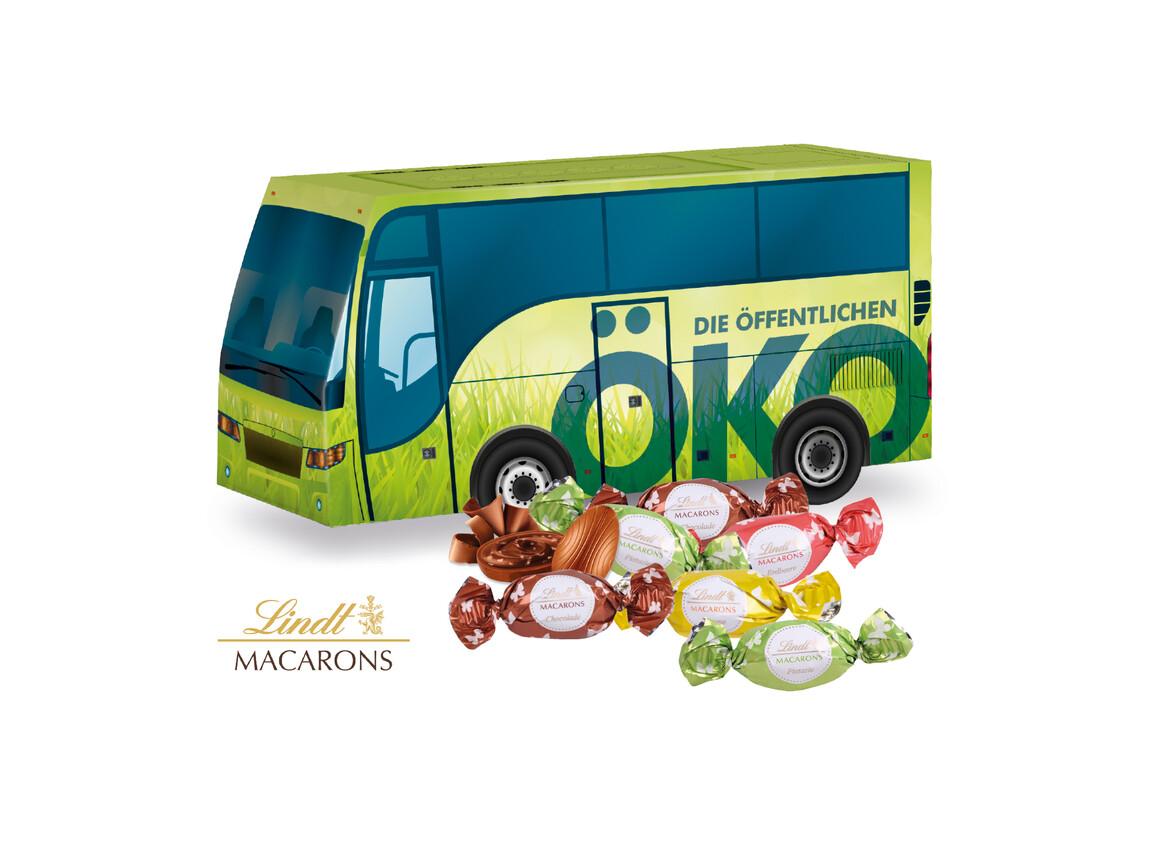 """3D Präsent """"Bus"""" mit Lindt Macarons Mischung bedrucken, Art.-Nr. 94519"""