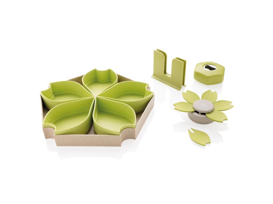4-tlg. Küchenset aus Weizen grün bedrucken, Art.-Nr. P262.057