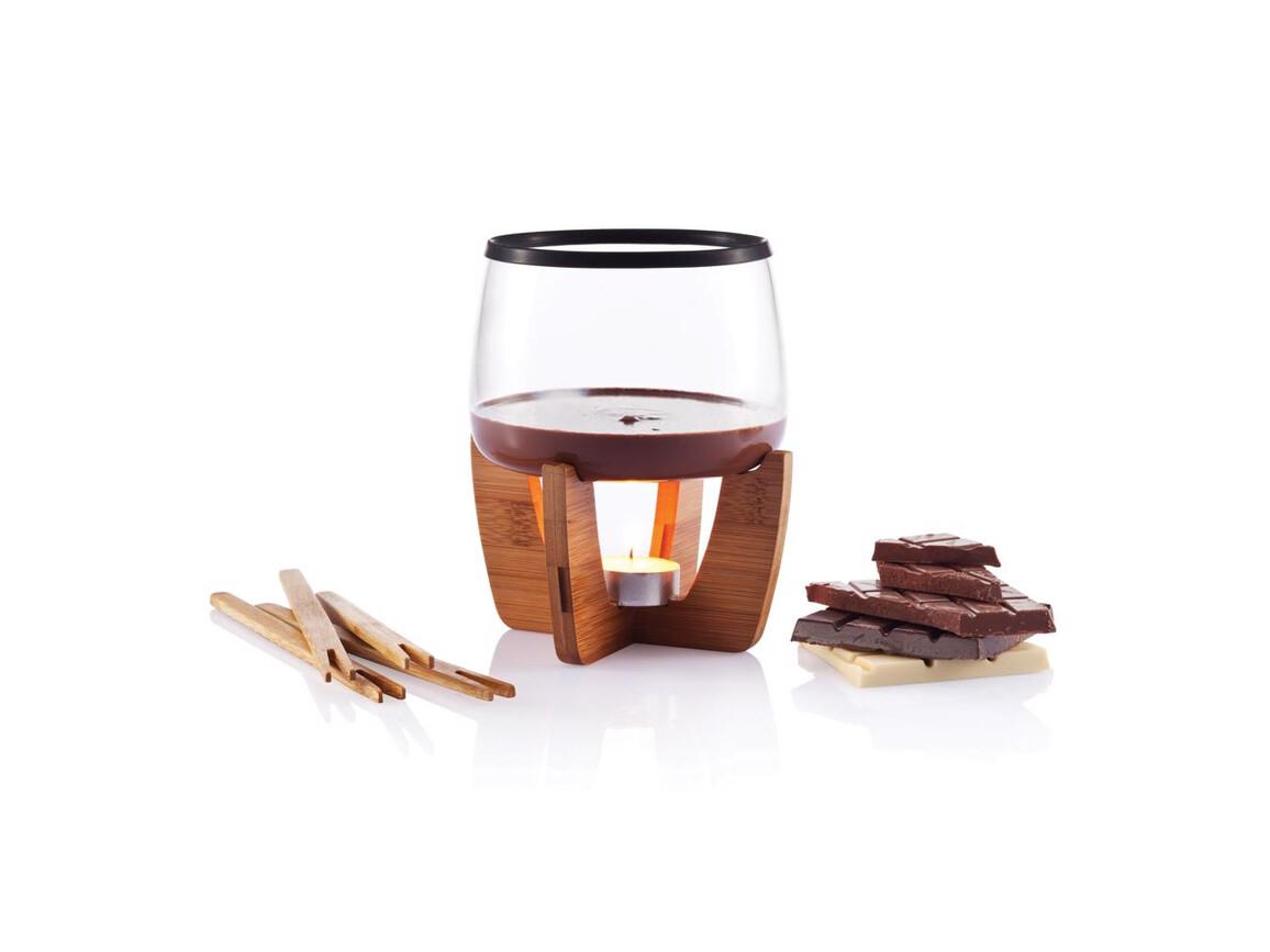 Cocoa Schokoladenfondue Set schwarz, braun bedrucken, Art.-Nr. P263.201
