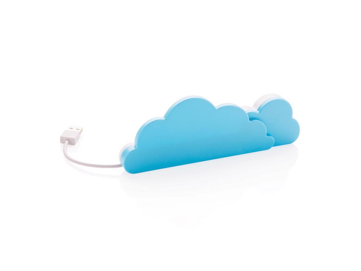 Cloud USB-Hub blau, weiß bedrucken, Art.-Nr. P308.305
