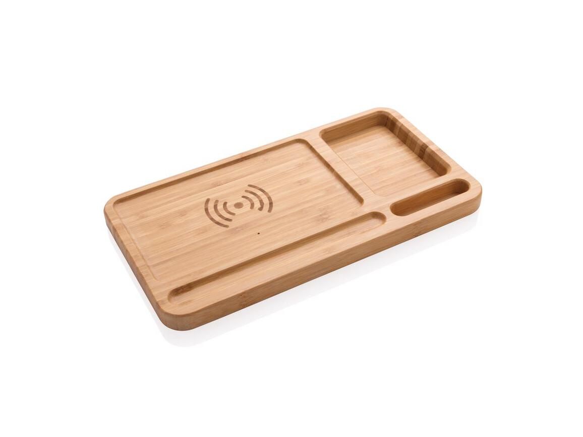 Bambus Schreibtisch-Organizer mit 5W Wireless Charger braun bedrucken, Art.-Nr. P308.629