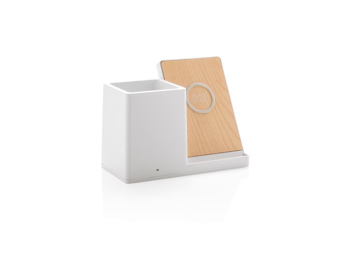 Ontario 5W Wireless Charger und Stiftehalter weiß bedrucken, Art.-Nr. P308.853