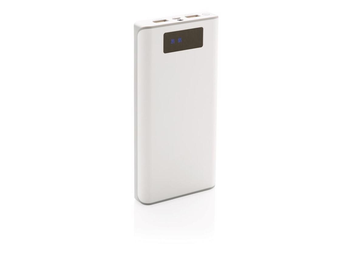 20.000 mAh Powerbank mit Display weiß bedrucken, Art.-Nr. P324.373