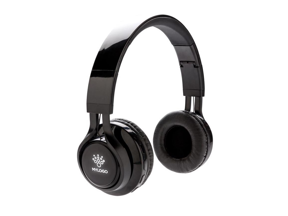 Wireless Kopfhörer mit leuchtendem Logo schwarz bedrucken, Art.-Nr. P326.271