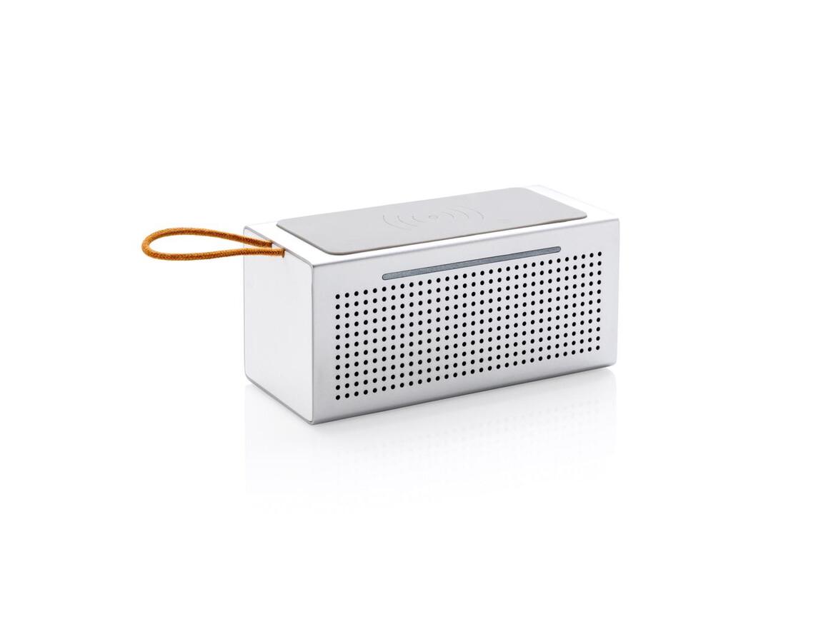 Vibe Wireless-Charging Lautsprecher grau bedrucken, Art.-Nr. P328.062