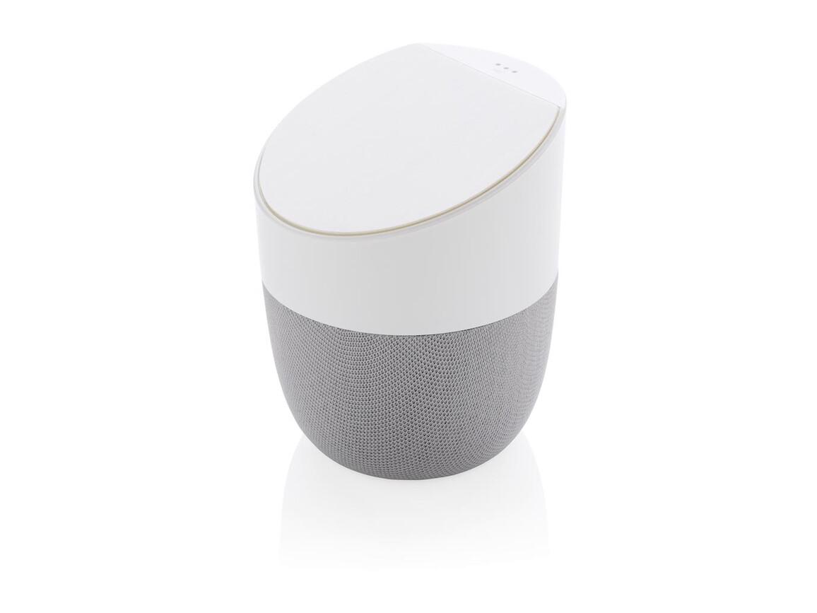 Home-Lautsprecher und Wireless-Charger weiß, silber bedrucken, Art.-Nr. P328.123