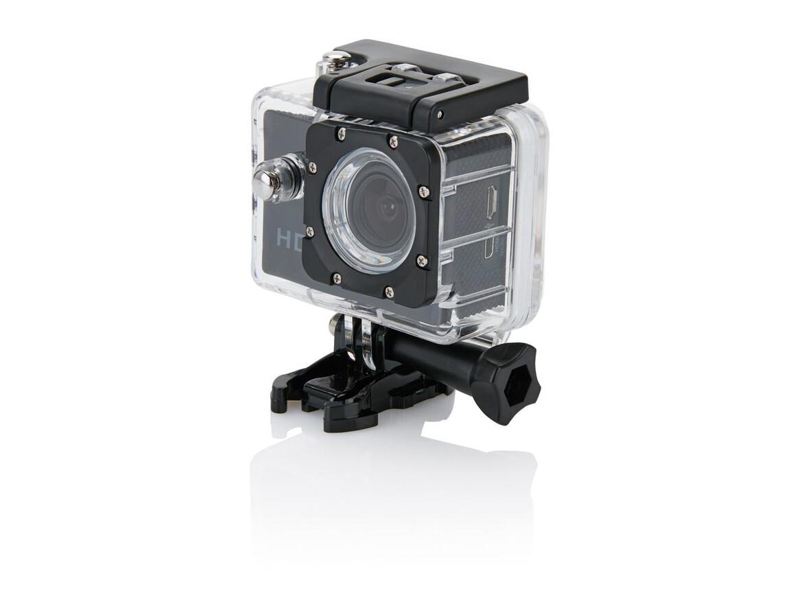 Action Kamera mit 11tlg. Zubehör schwarz, schwarz bedrucken, Art.-Nr. P330.051
