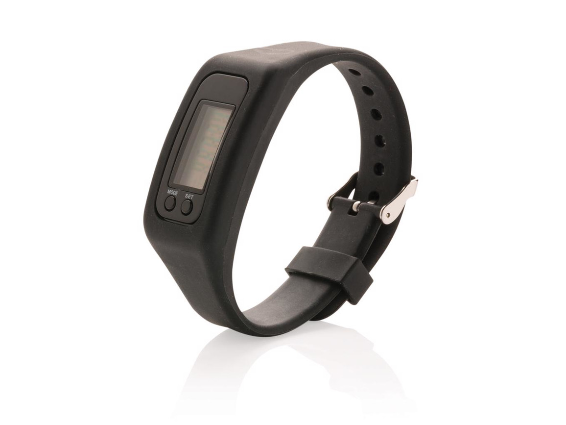 Schrittzähler Armband schwarz bedrucken, Art.-Nr. P410.551