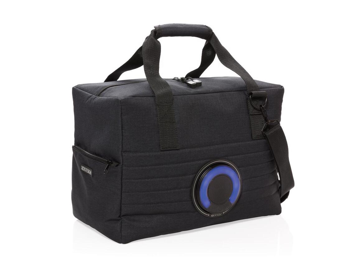 Party Kühltasche mit Lautsprecher schwarz bedrucken, Art.-Nr. P422.131