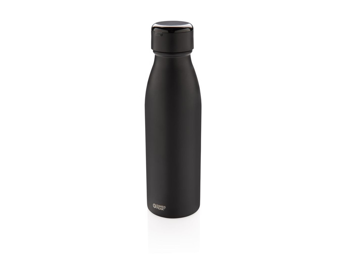 Swiss Peak Vakuum Flasche mit Mini True-Wireless Kopfhörern schwarz bedrucken, Art.-Nr. P432.431