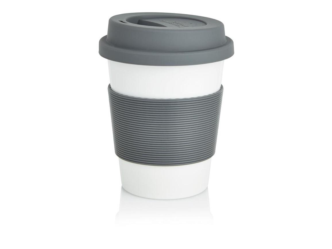 ECO PLA Kaffeebecher grau, weiß bedrucken, Art.-Nr. P432.880