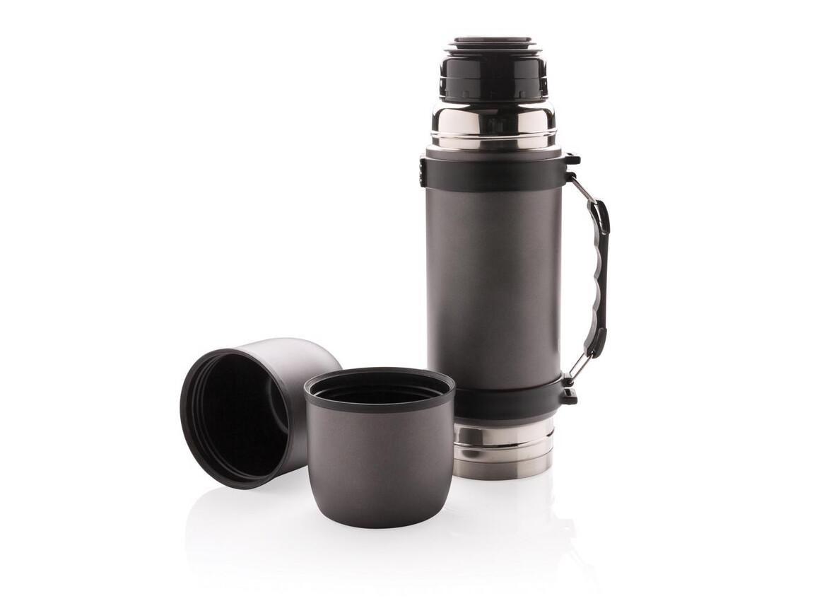 Thermosflasche mit 2 Bechern grau bedrucken, Art.-Nr. P433.330
