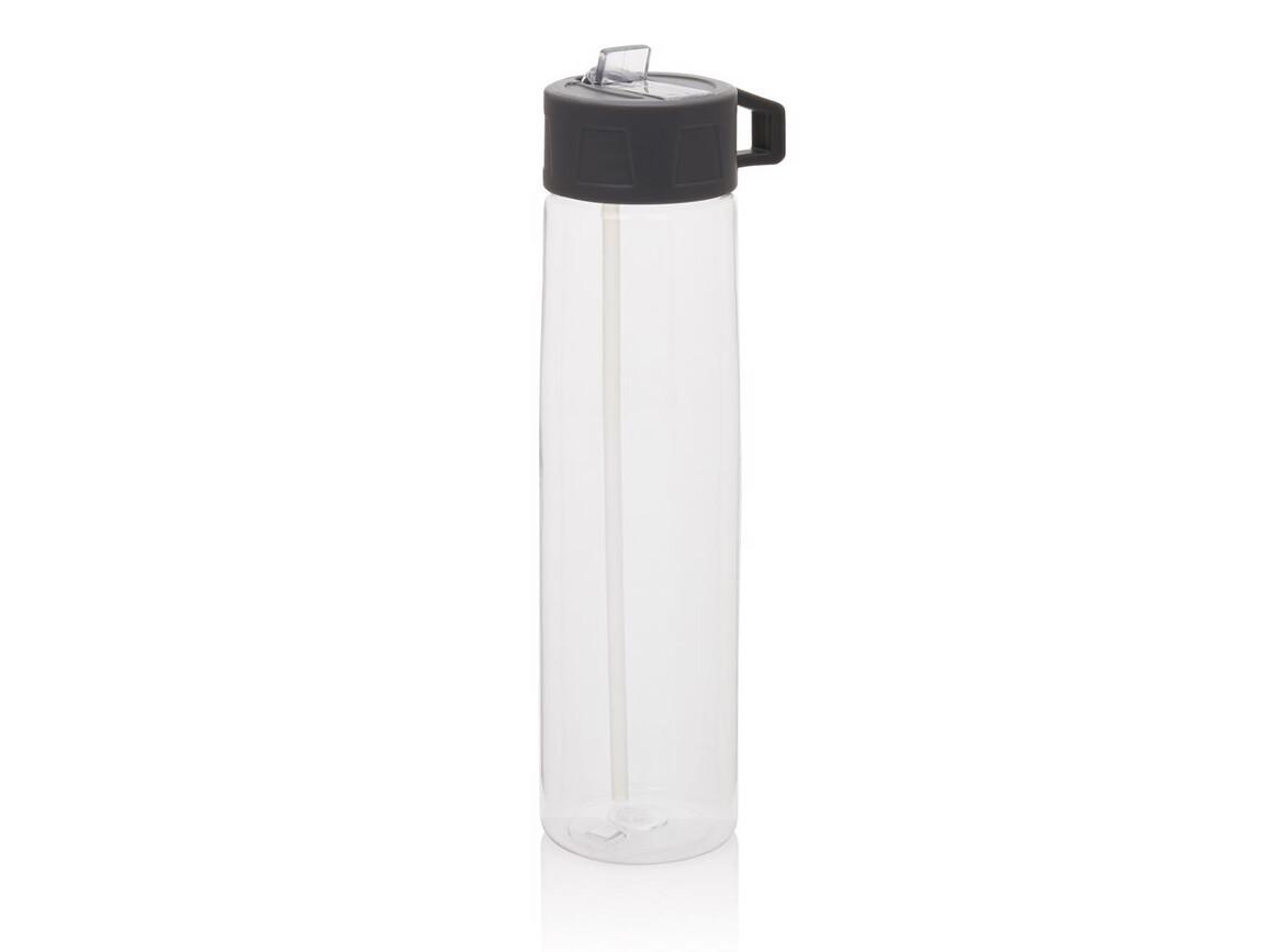 Tritan Trinkflasche mit Strohhalm transparent, grau bedrucken, Art.-Nr. P436.300