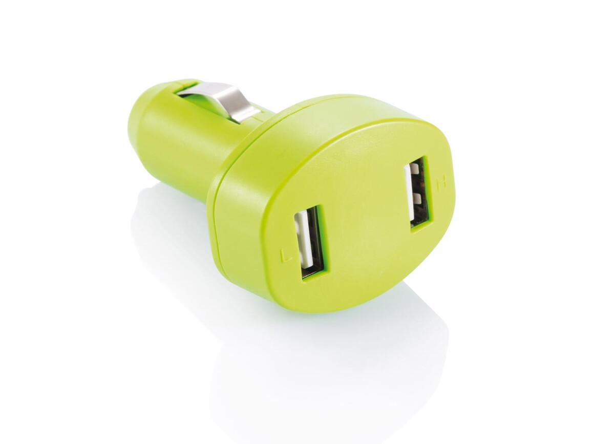 Doppel-USB Lader grün bedrucken, Art.-Nr. P302.067