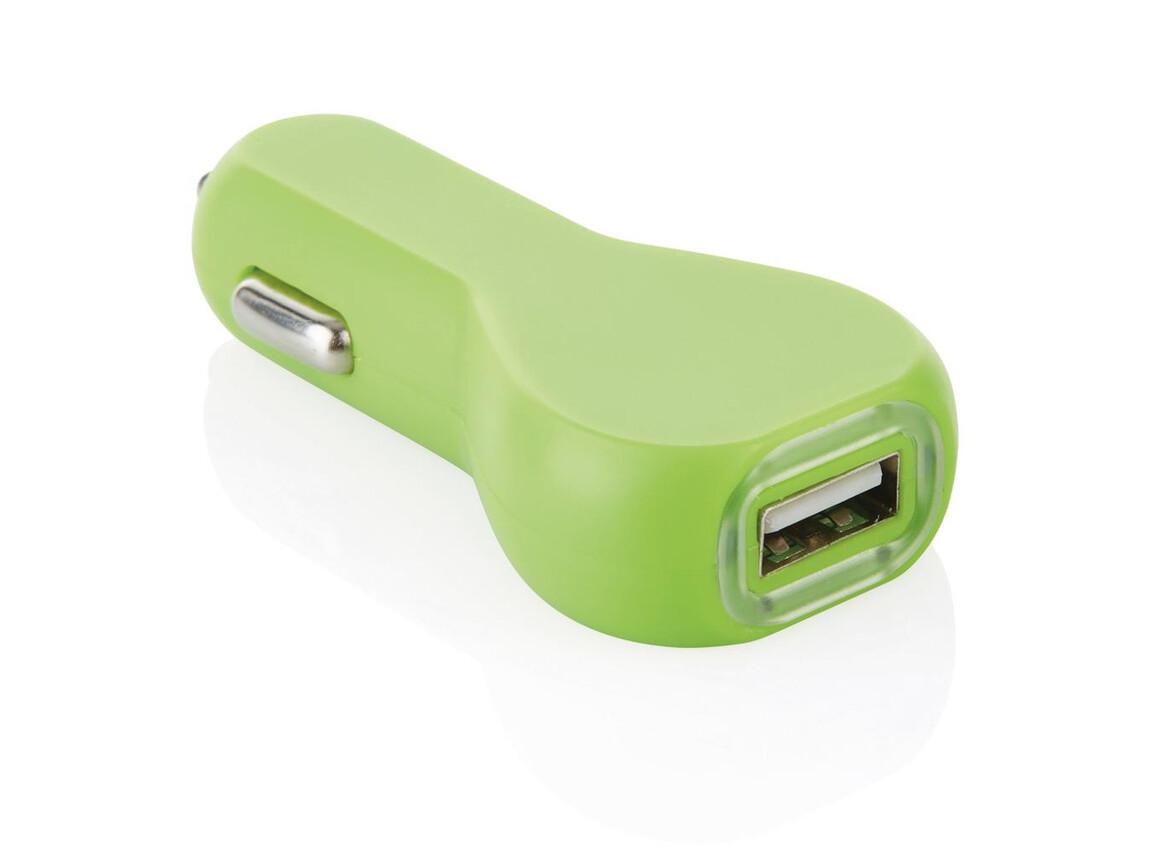 USB Auto Ladegerät grün bedrucken, Art.-Nr. P302.887