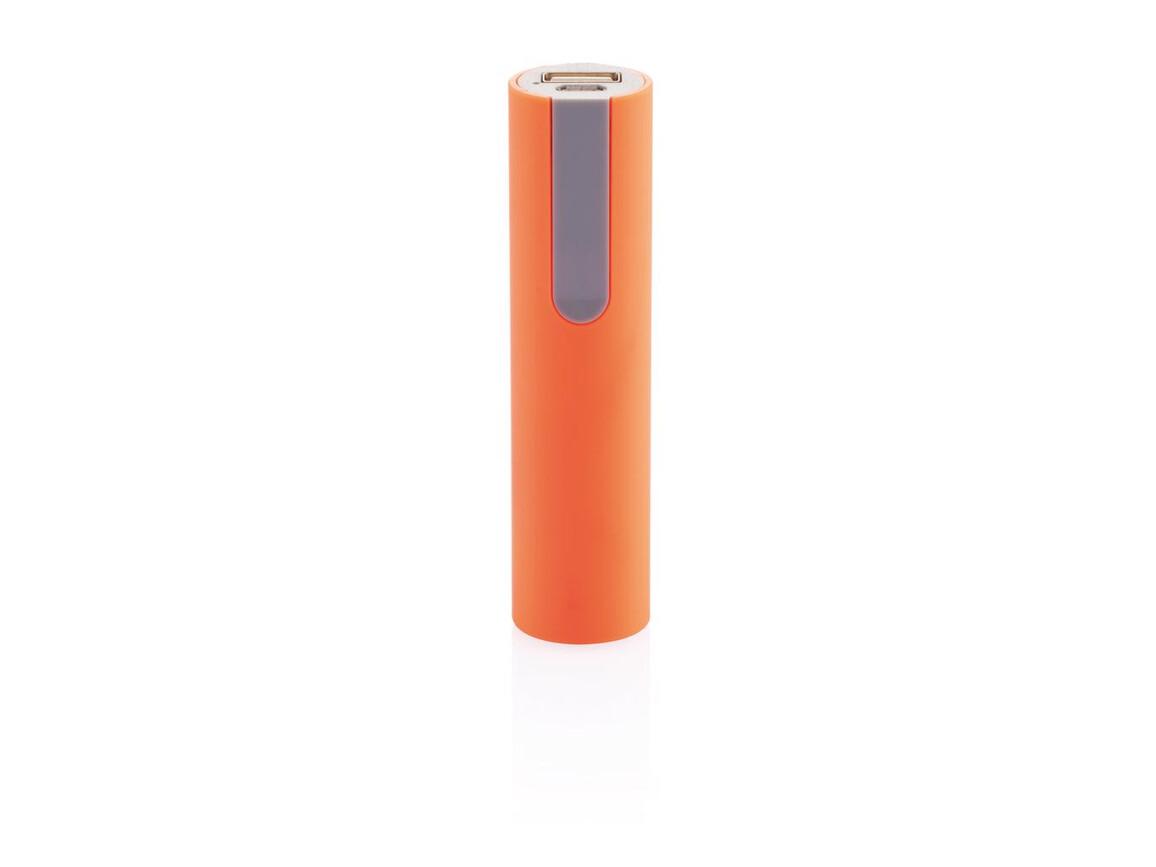 2.200 mAh Powerbank orange, grau bedrucken, Art.-Nr. P324.058