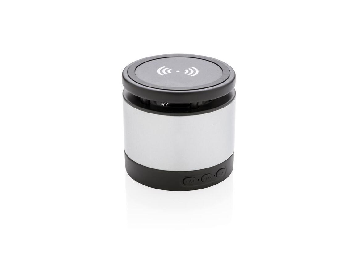 Wireless-Charger Lautsprecher grau, schwarz bedrucken, Art.-Nr. P328.032