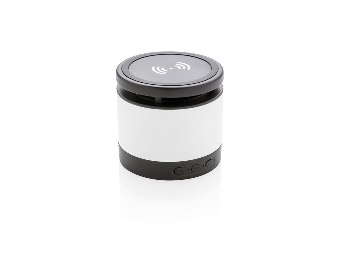Wireless-Charger Lautsprecher weiß, schwarz bedrucken, Art.-Nr. P328.033