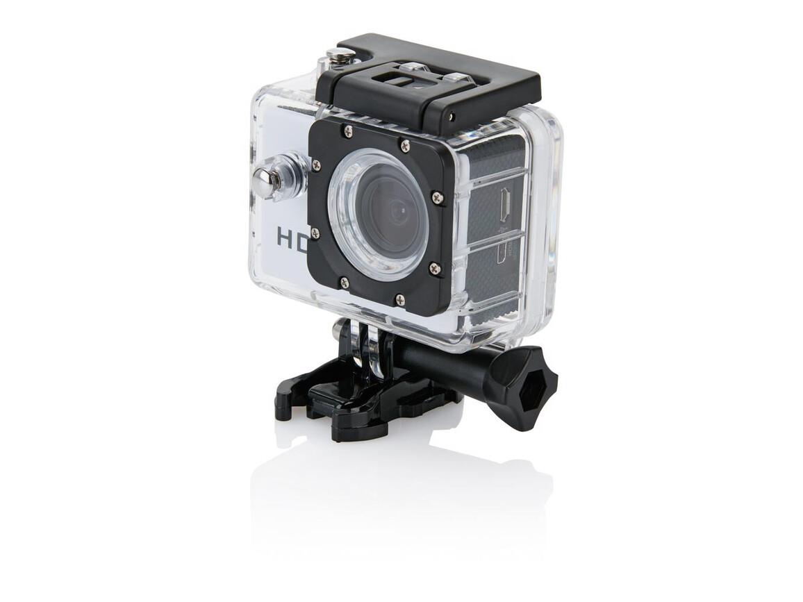 Action Kamera mit 11tlg. Zubehör weiß, schwarz bedrucken, Art.-Nr. P330.053
