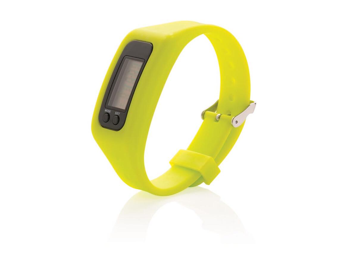 Schrittzähler Armband limone bedrucken, Art.-Nr. P410.557