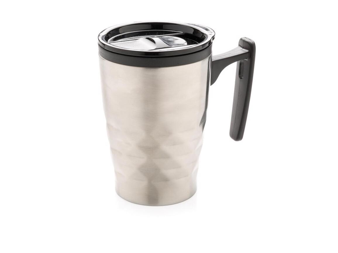 Geometrischer Kaffeebecher silber bedrucken, Art.-Nr. P432.042