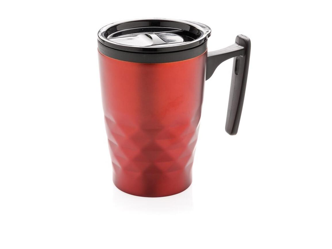 Geometrischer Kaffeebecher rot bedrucken, Art.-Nr. P432.044