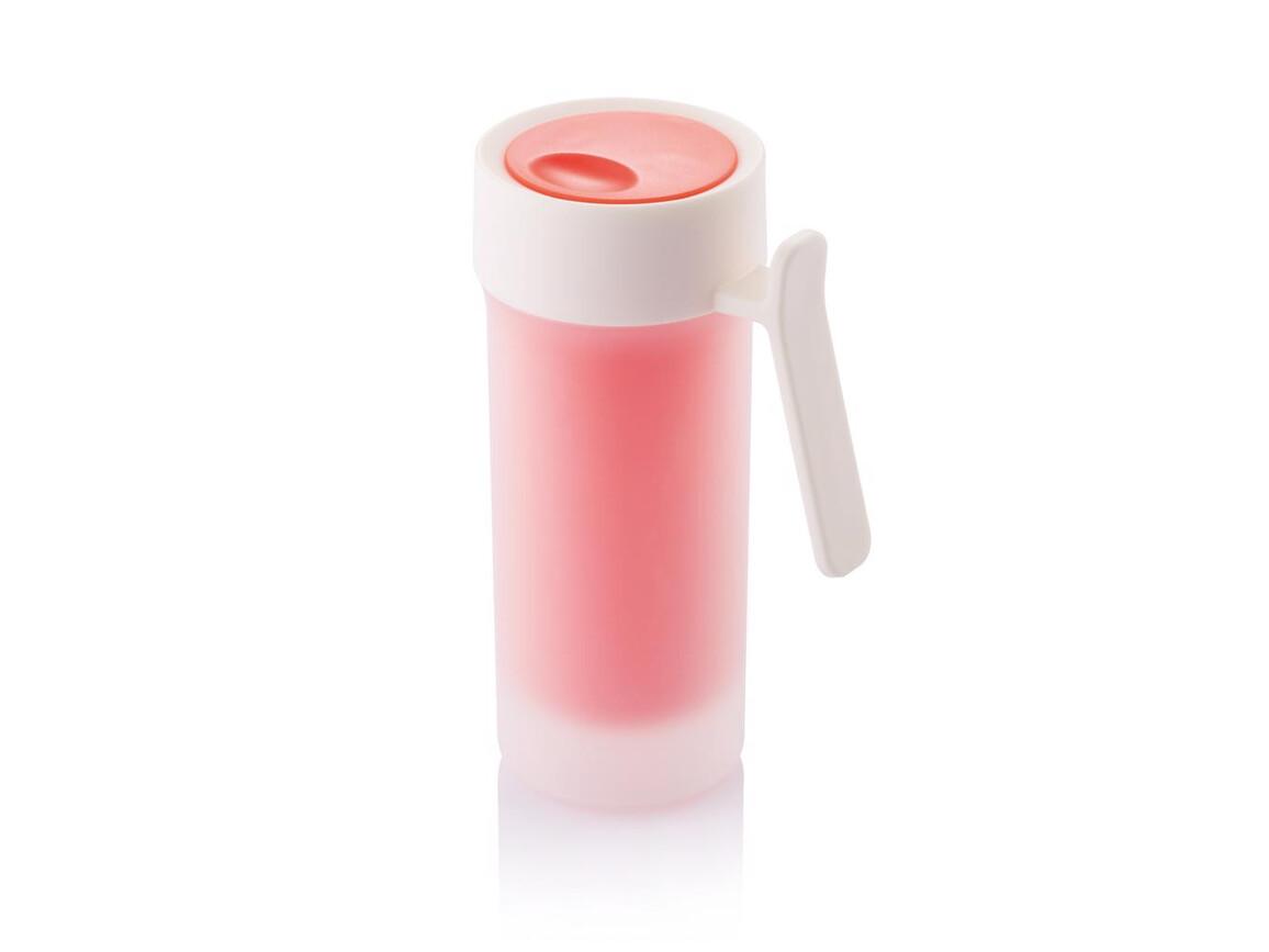 Pop Tasse rot, weiß bedrucken, Art.-Nr. P432.384