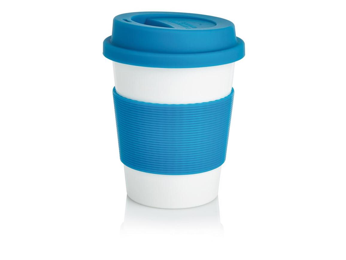 ECO PLA Kaffeebecher blau, weiß bedrucken, Art.-Nr. P432.885